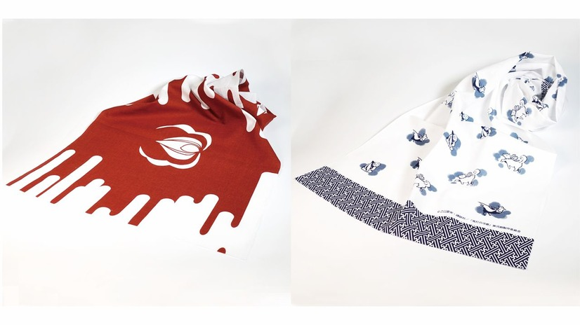 A promotional image of the Hozuki's Coolheadedness hand towels, which feature artwork of Hozuki's crest and a blood spatter pattern or images of Momotaro's animal companions.