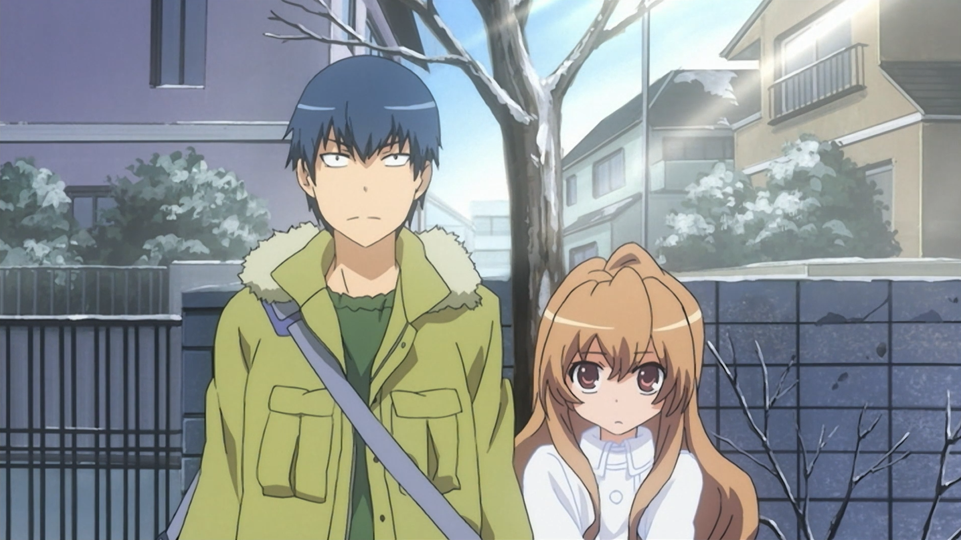 Ryuji and Taiga prepare to announce their marriage to Taigai's parents in a scene from the Toradora! TV anime.