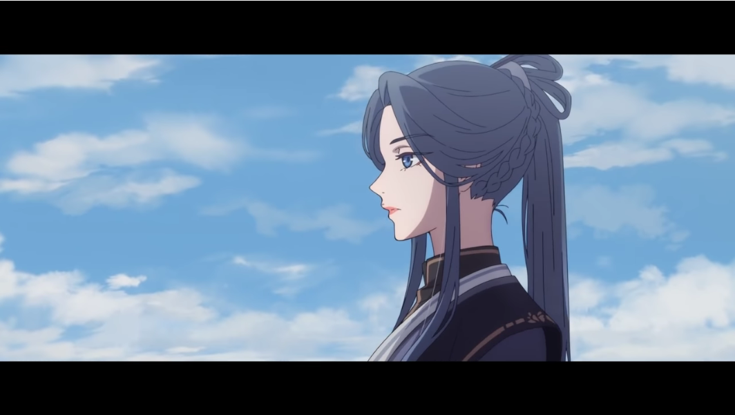 Ling Wen adopts a melancholy expression in a scene from the Heaven Official's Gift TV animation.