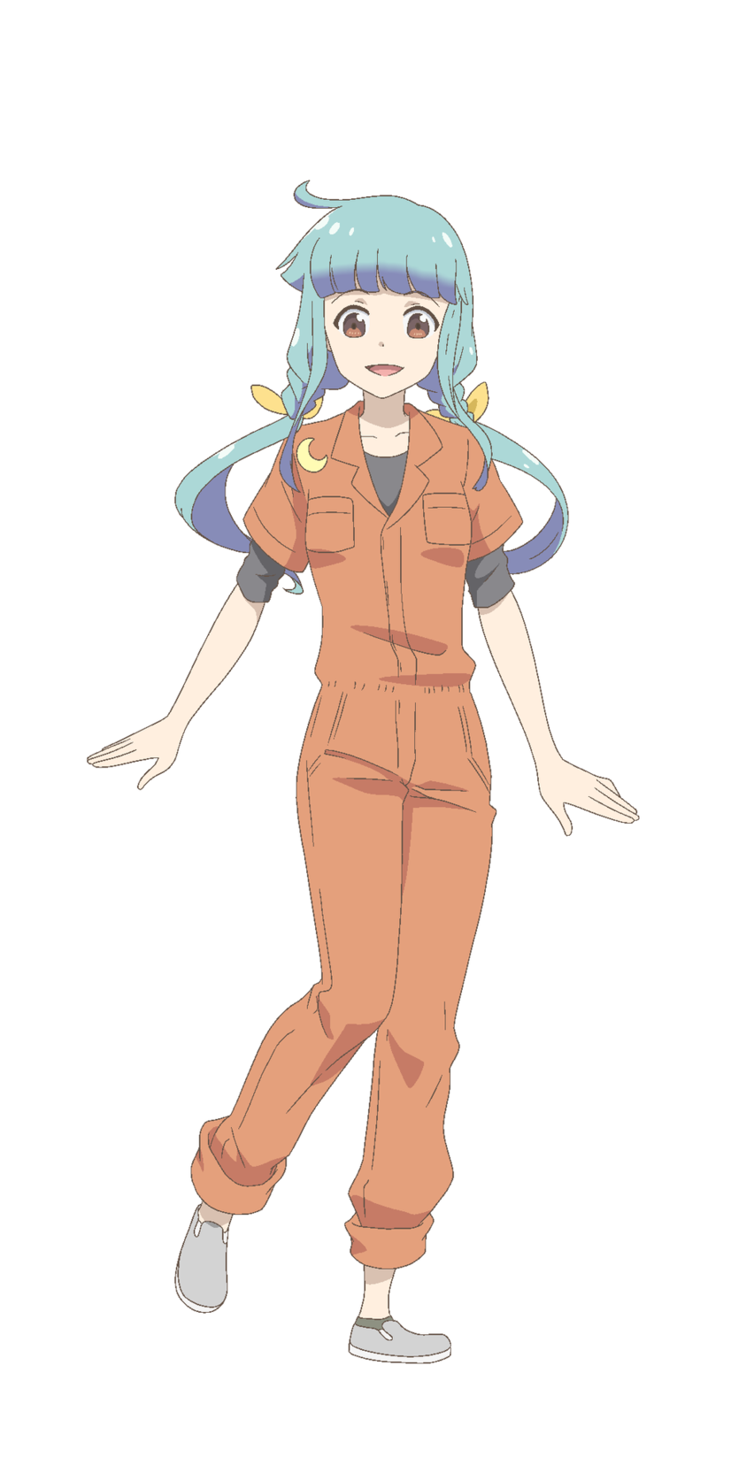 Un escenario de personajes de Hina Tokikawa del próximo anime de televisión Let's Make a Mug Too 2nd Kiln.  Hina es una chica de complexión delgada con cabello azul pálido en colas gemelas y ojos marrones.  Lleva un jersey naranja de una pieza con una camiseta negra debajo y zapatillas grises.