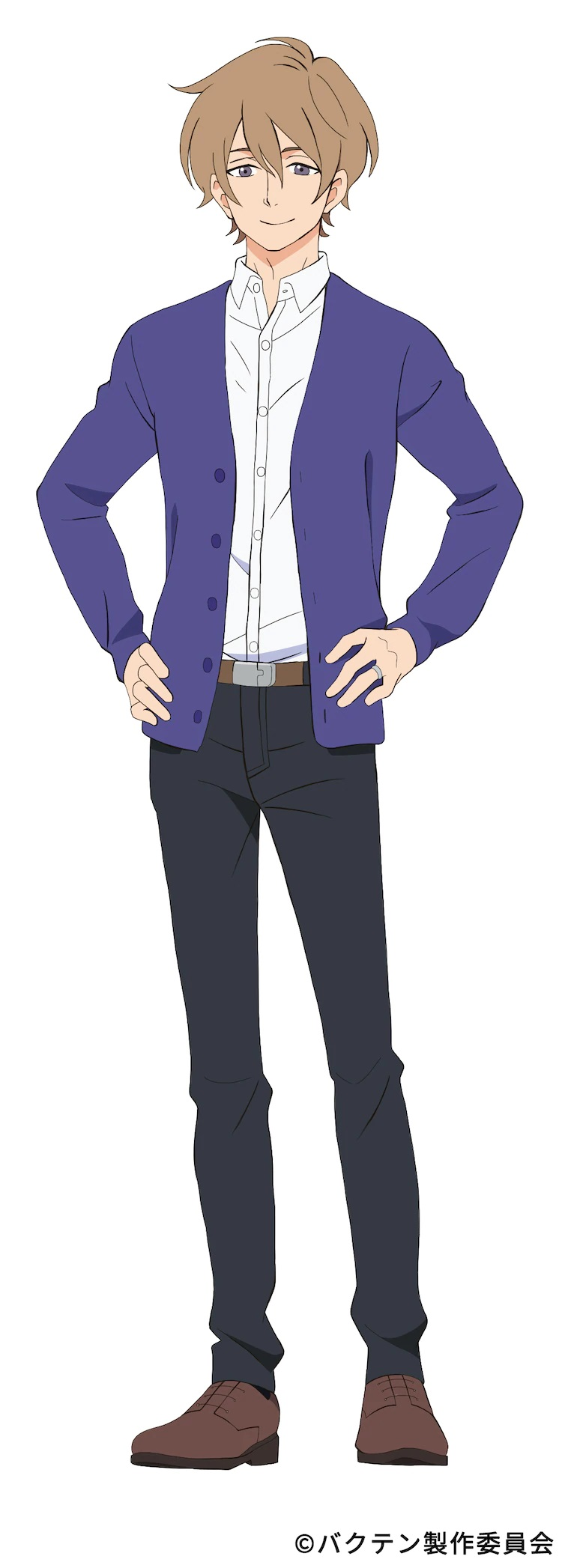 A character setting of Shuusaku Shida, a slender man with a gentle expression who acts as the coach for the men's rhythmic gymnastics club at Soshukan High School in the upcoming Bakuten!! TV anime.