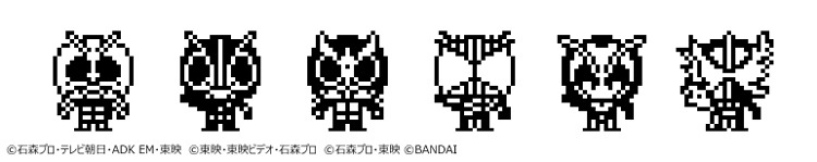 Una imagen promocional que muestra a 6 de los 40 Kamen Riders diferentes que se pueden criar con el juguete digital para mascotas Kamen Rider Tamagotchi.