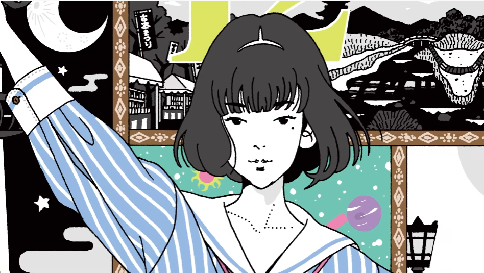 A close-up of the Raven-Haired Girl from the cover of The Tatami Time Machine Blues, written by Tomihiko Morimi and Makoto Ueda and illustrated by Yusuke Nakamura.