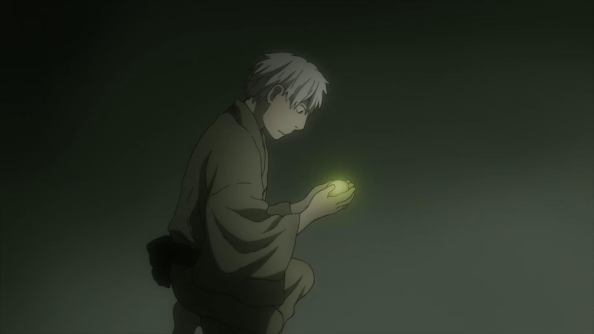 Ginko holds an egg, Mushi-Shi