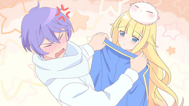 Mullin, an assistant demon, is flustered by Beelzebub's casual nudity in a scene from the As Miss Beelzebub Likes it. TV anime.