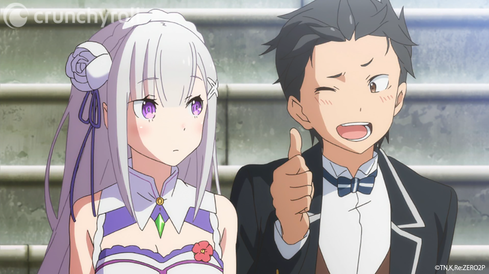 Natsuki Subaru flashes Emilia a wink and a thumb's up in a scene from the Re:ZERO -Starting Life in Another World- TV anime.