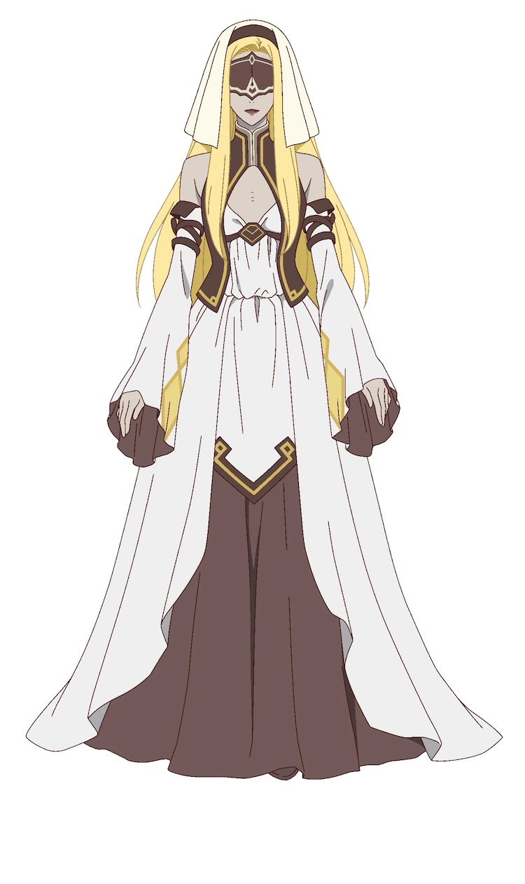 Un escenario de personajes de Mary, una sacerdotisa momificada del próximo anime televisivo The Faraway Paladin.  María aparece como una mujer no muerta con cabello rubio, labios negros y piel gris vestida con una túnica ceremonial fluida, un tocado y una venda en los ojos.