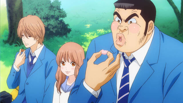 Makoto, Rinko, and Takeo enjoy some delicious macarons in a scene from the MY love STORY!! TV anime.