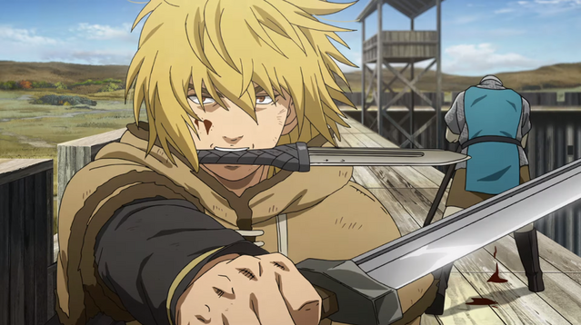 Thorfinn storms the battlements of an English fort in the Vinland Saga TV anime.