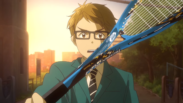Toma Shinjo thrusts a tennis racket at his would-be partner, Maki Katsuragi, in the Hoshiai no Sora original TV anime.