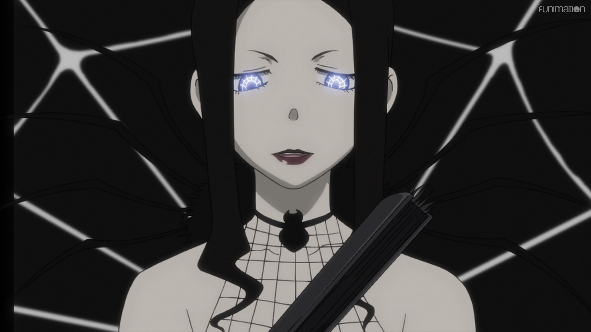 Arachne Gorgon's irises shine with a glowing, spiderweb pattern in a scene from the Soul Eater TV anime.