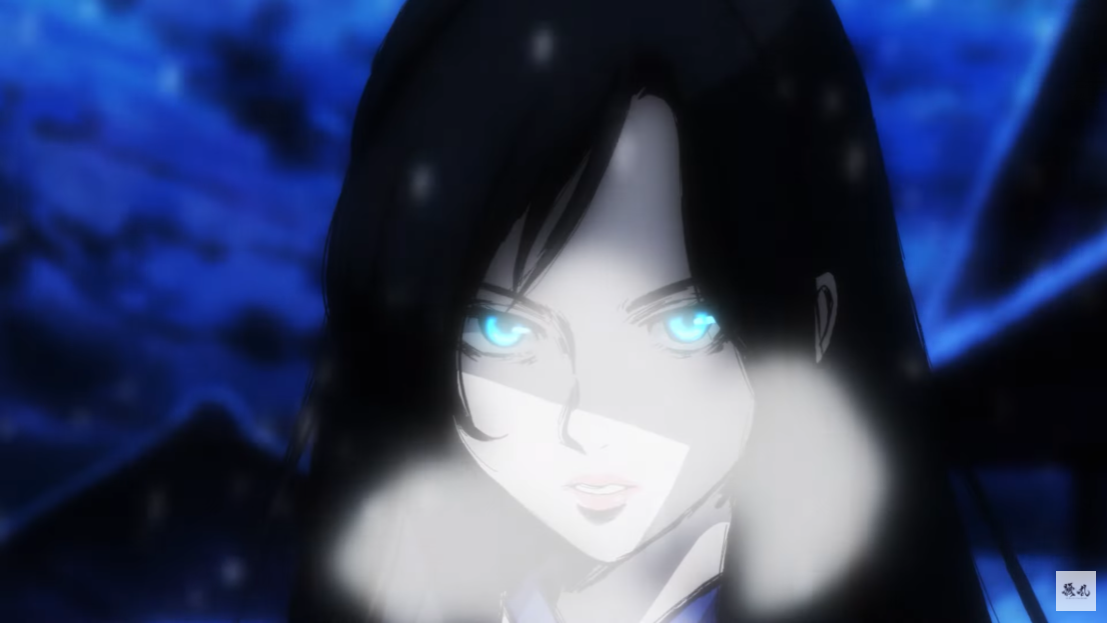 Sawa Yukimura, a young woman with supernatural abilities, exhales a frosty breath in a scene from the upcoming JORAN THE PRINCESS OF SNOW AND BLOOD TV anime.