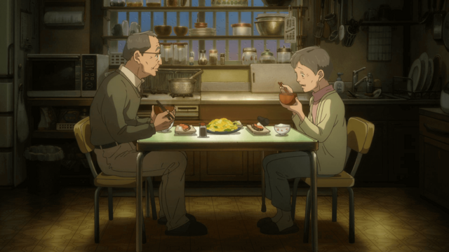Michio and Yoko, an elderly couple, share a meal in a scene from the 8th