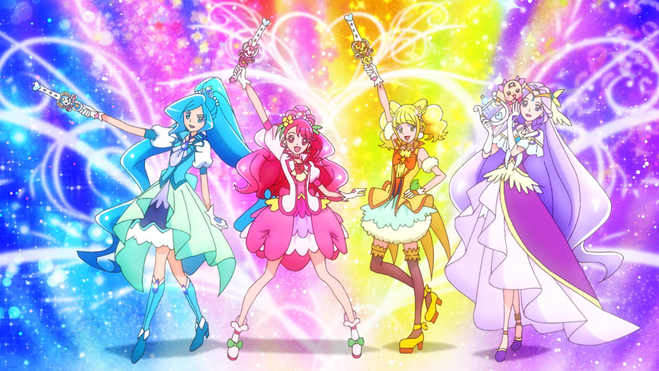 The cast of Healin' Good Pretty Cure strikes a heroic pose after completing their transformation sequences in a scene from the Healin' Good Pretty Cure TV anime.