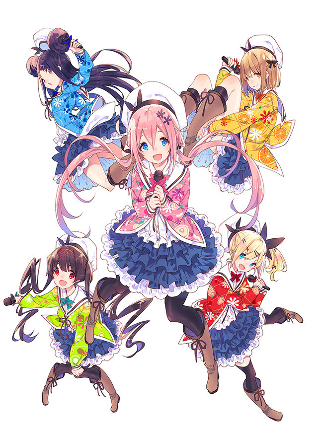A key visual for the upcoming Dropout Idol Fruit Tart TV anime, featuring the five members of the idol group Fruit Tart.