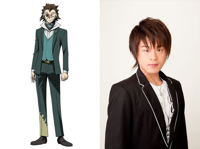 A character visual of Mysterious Man, a well-dressed but extremely scarred criminal, and his voice actor Yoshitsugu Matsuoka.