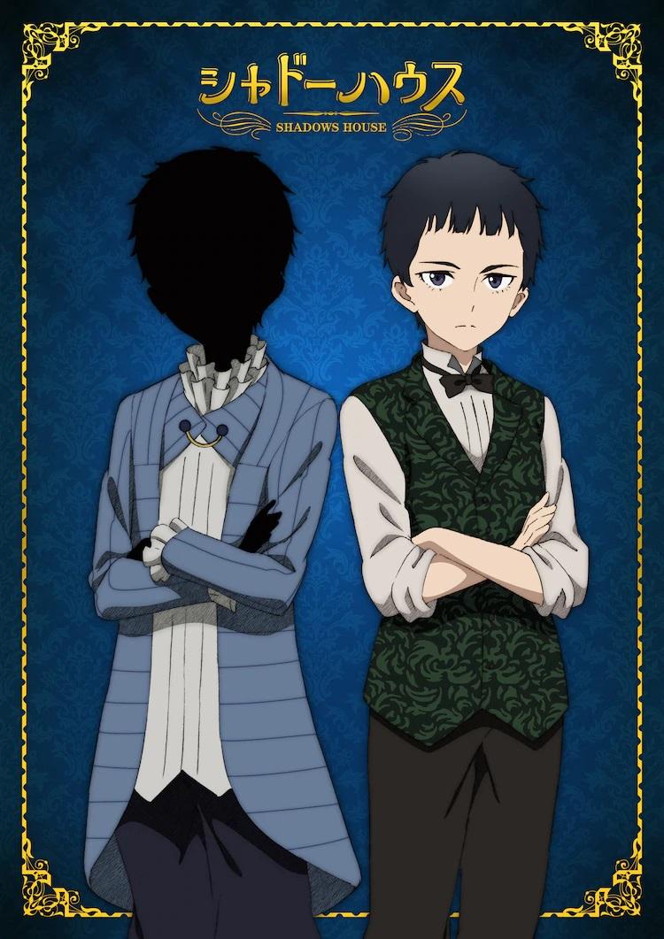 """Un personaje visual para John, una aristocrática sombra-persona, y Sean, su """"muñeca viviente"""" asistente, del próximo anime de televisión Shadows House."""