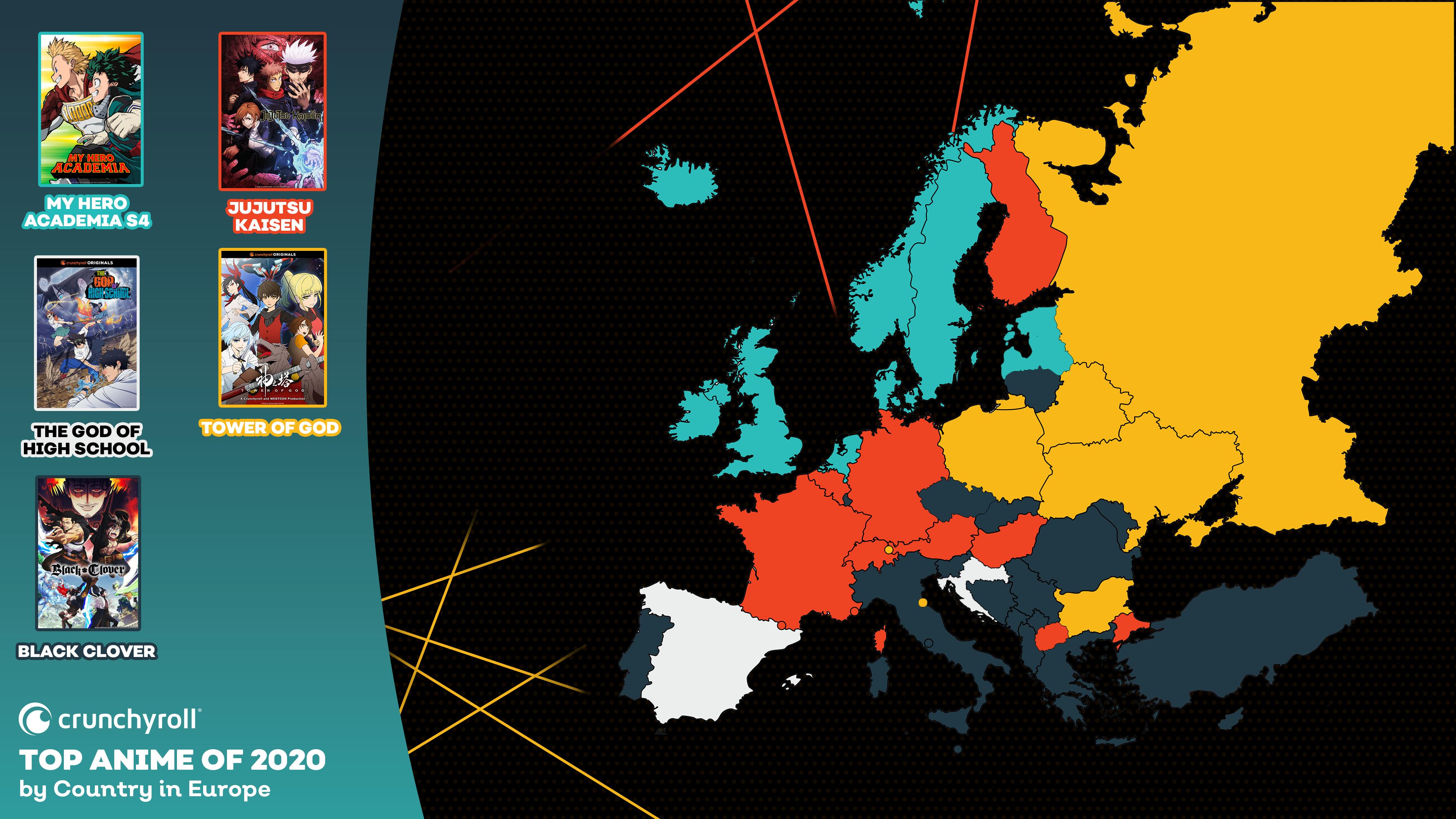 Mejor anime de 2020 por país - Europa