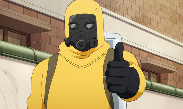 Monocyte, a white blood cell clad in a hazmat suit and gas mask, gives a hearty thumb's up.