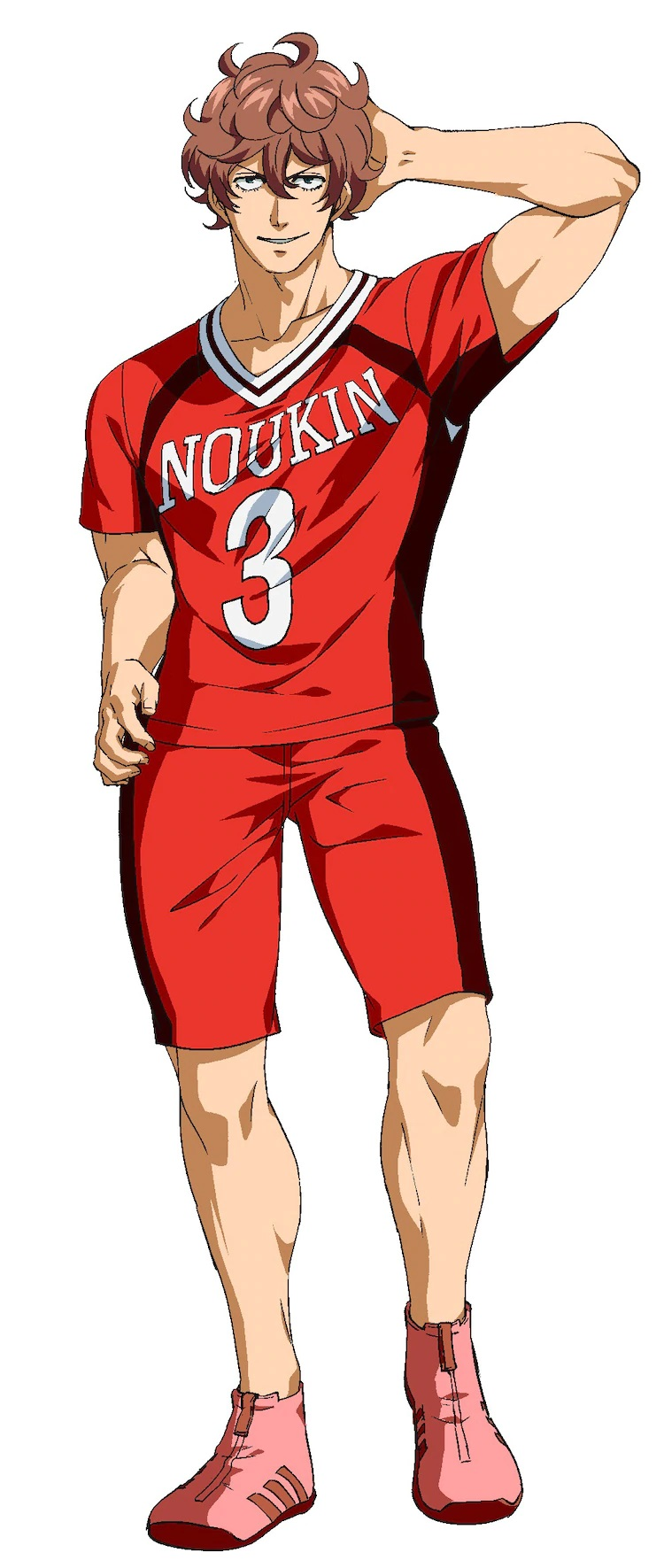 A character setting of Kyouhei Misumi, a former delinquent turned member of the Noukin High School kabaddi club, from the upcoming Burning Kabaddi TV anime.