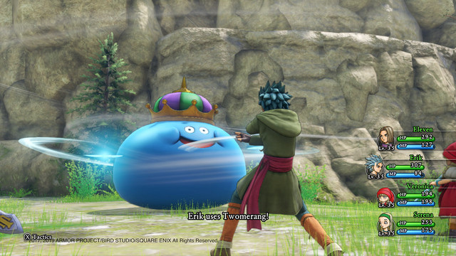 A screen capture from Dragon Quest XI S: Echoes of an Elusive Age - Definitive Edition for the Nintendo Switch, featuring the hero party fighting a King Slime.