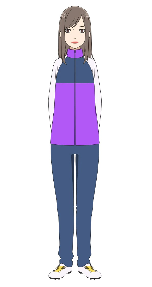 A character setting for Naoko Noumi, the couch of the high school soccer club from the upcoming Farewell, My Dear Cramer TV anime.