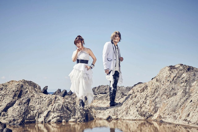 A promotional image of the Japanese pop duo angela, featuring vocalist atsuko and guitar / arrangement KATSU.