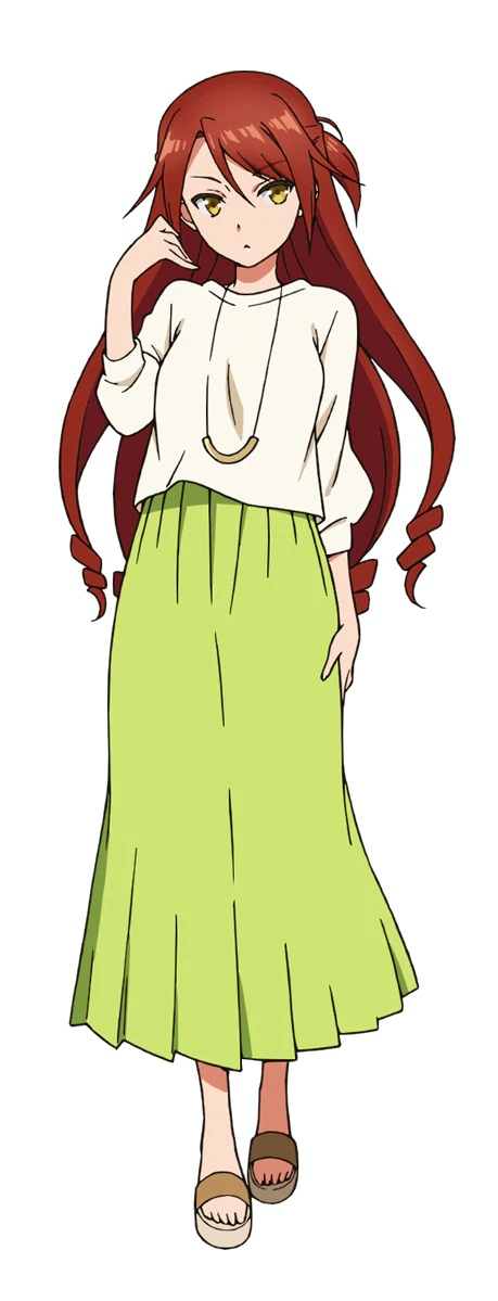 A character setting of Eiko Kawasegawa, a young woman with hip-length red hair and yellow eyes dressed in a white blouse and an ankle-length lime green skirt from the upcoming Bokutachi no Remake TV anime.