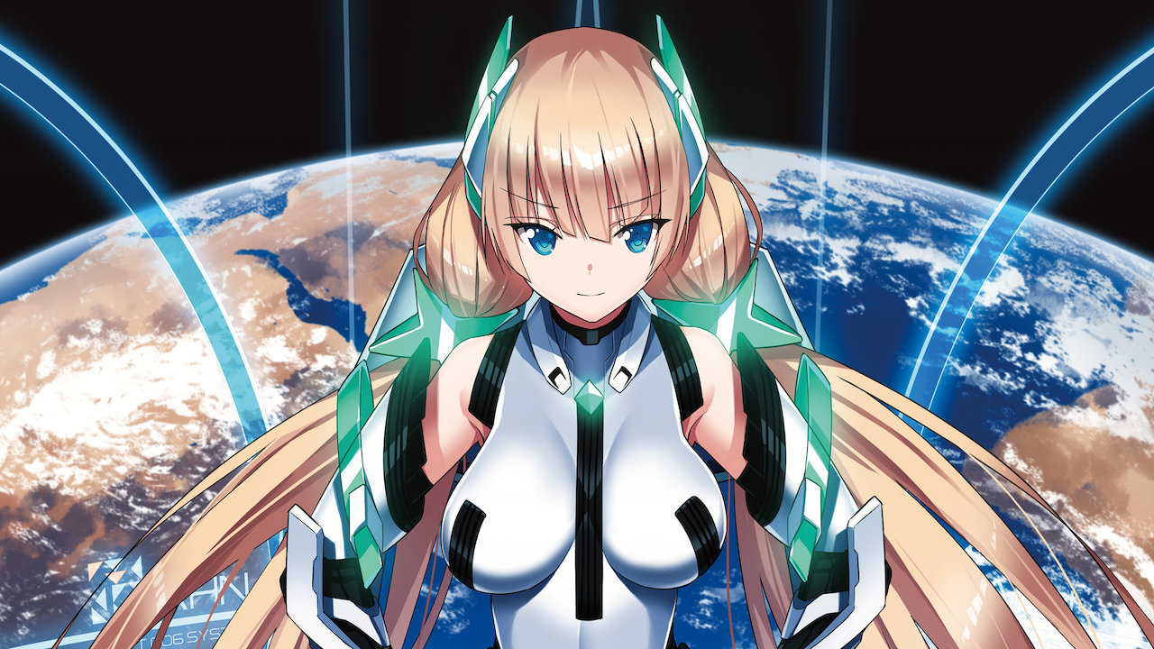 A promotional image for the 2014 theatrical anime film, Expelled from Paradise, featuring the movie's main character, Angela Balzac, posing in front of a window with a view of the Earth from space in the background.
