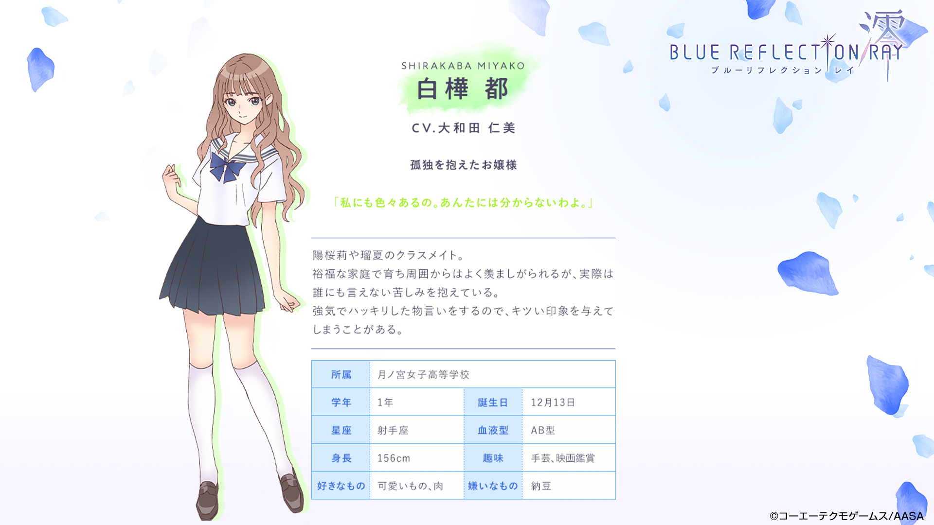 Un escenario de personajes de Miyako Shirakaba, una chica de secundaria con cabello largo, ondulado y castaño claro que está vestida con su uniforme escolar, del próximo anime BLUE REFLECTION RAY / Mio TV.