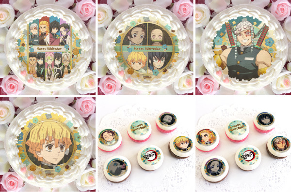 Demon Slayer White Day cakes and macarons