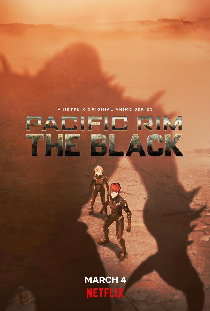 Una imagen clave para el próximo anime original de Pacific Rim: The Black Netflix, con los personajes principales, Taylor y Hayley, vistiendo sus trajes de piloto Jaeger y enfrentando la sombra de un enorme Kaiju en el interior de Australia.