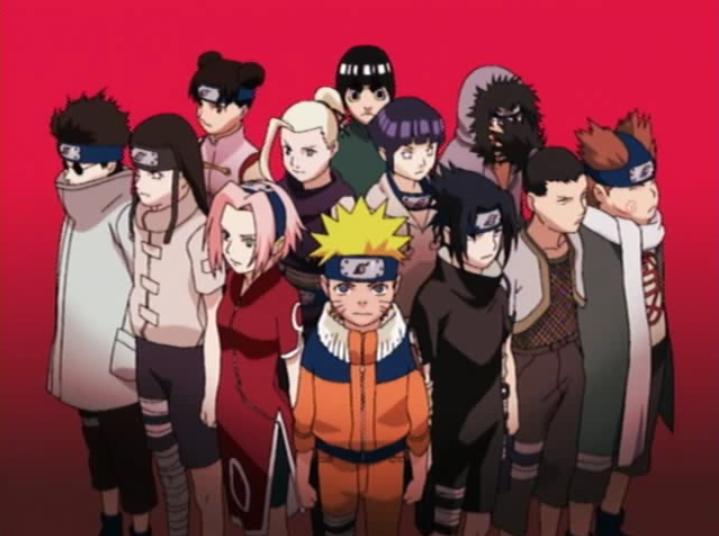 A screen-capture from the opening animation of Naruto Episode 78 on Crunchyroll, featuring a group shot of Naruto, Sasuke, Sakura, Shino, Neji, Tenten, Ino, Rock Lee, Hinata, Kiba, Shikamaru, and Choji.
