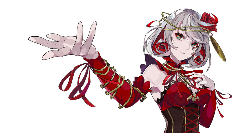 """Un escenario de personajes de """"Destino"""", una de las heroínas del próximo takt op.  Anime de TV.  Fate es una mujer delgada de piel pálida, cabello blanco y ojos verdes que viste un elaborado traje rojo."""