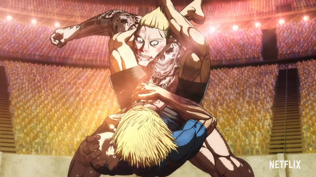 A fighter traps another fighters arm in a vicious arm-bar grappling hold in the Kengan Ashura Netflix original anime.