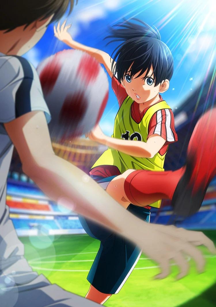 Un elemento visual clave para la próxima película de anime teatral Farewell, My Dear Cramer - First Touch, que presenta al personaje principal, Nozomi Onda, en su equipo deportivo intentando anotar un gol de fútbol contra un jugador masculino.