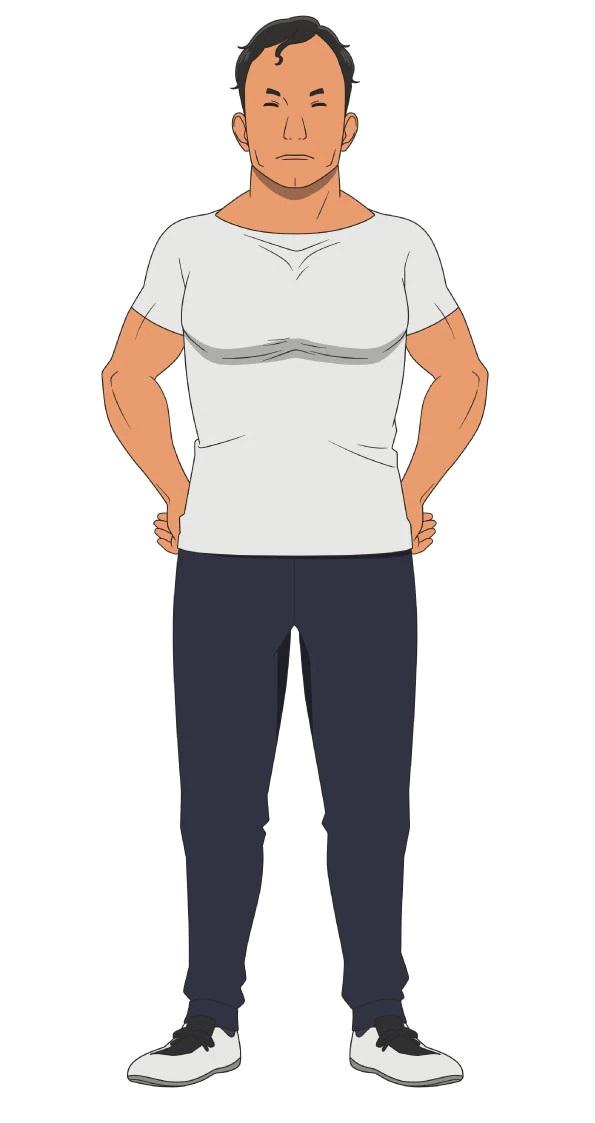 Un escenario de personajes de Eiken Asuka, el entrenador del club de fútbol de chicos del próximo anime de televisión Farewell, My Dear Cramer.