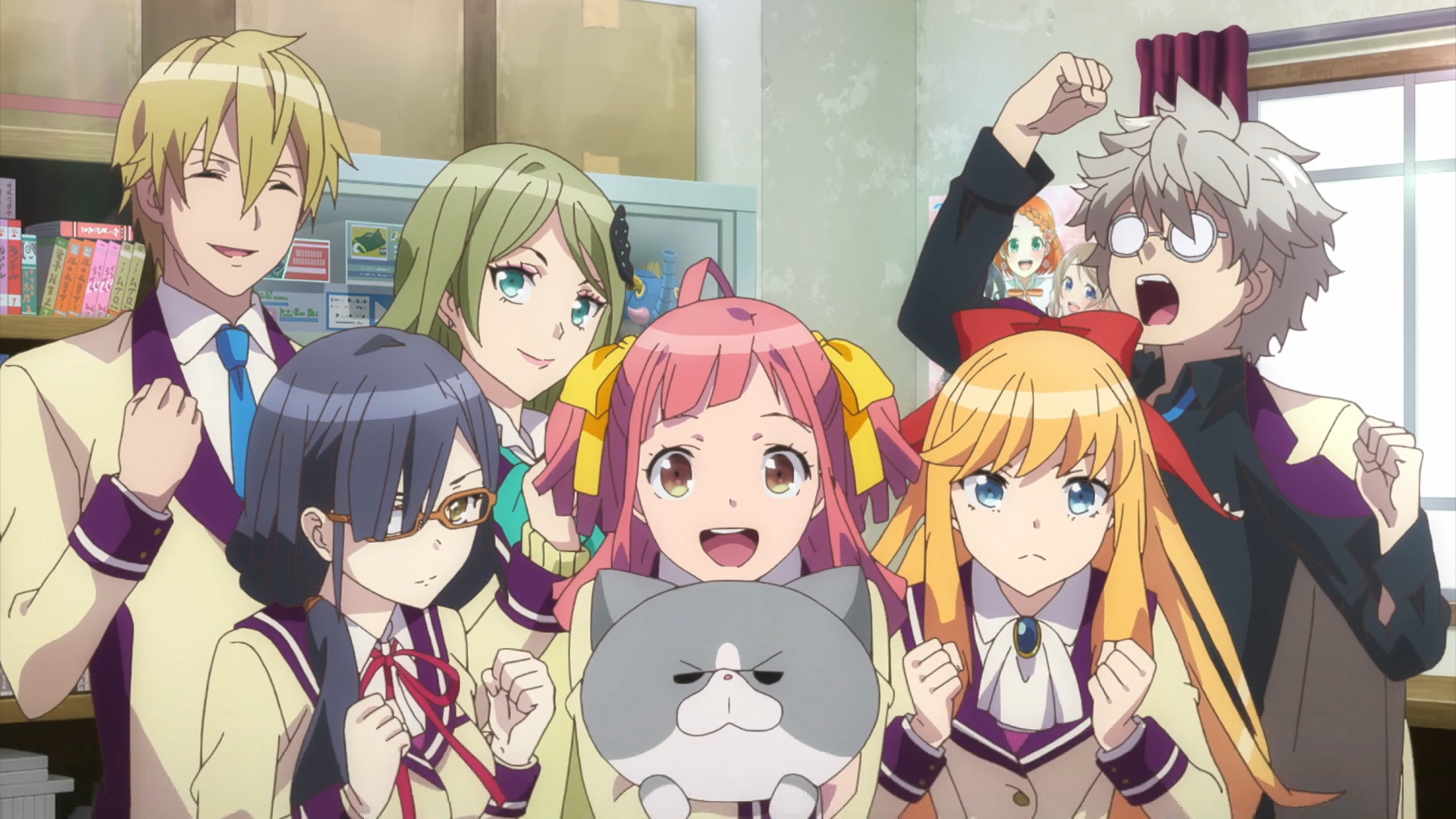 The Sakaneko High School anime club strikes an excited pose in their club room in a scene from the 2017 Anime-Gataris TV anime.