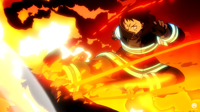 Shinra Kusakabe, the protagonist of the Fire Force TV anime, delivers a devastating flaming kick.