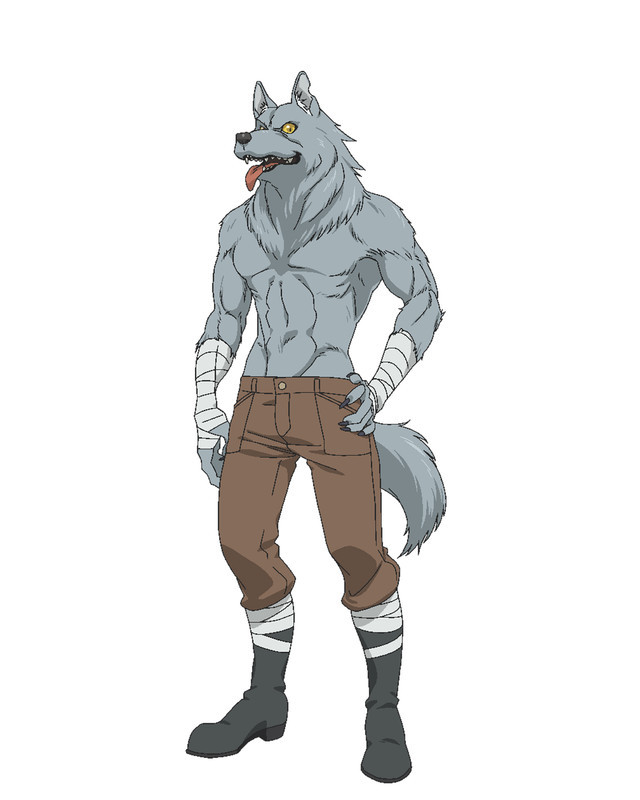 Wolfgang Von Craftsman, a wolf-man Beast person with a gray coat of fur, boots, brown leather breeches, and wrappings on his wrists in Rise Up! Animal Road.