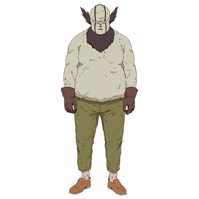 A character setting of Kirion, a strange-looking fellow in a wool sweater and work gloves from the upcoming Dorohedoro TV anime.