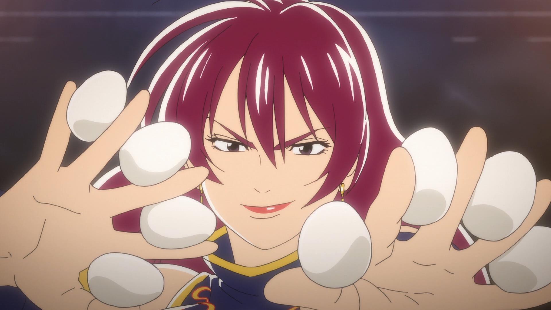 Xiang, un miembro malvado del inframundo de la cocina, empuña 8 huevos durante un concurso de cocina de cangrejo en una escena del anime de televisión True Cooking Master Boy 2019.
