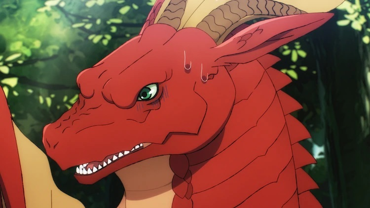 Letty the young red dragon is surprised by a group of adventurers that want to slay him in a scene from the upcoming Dragon Goes House-Hunting TV anime.