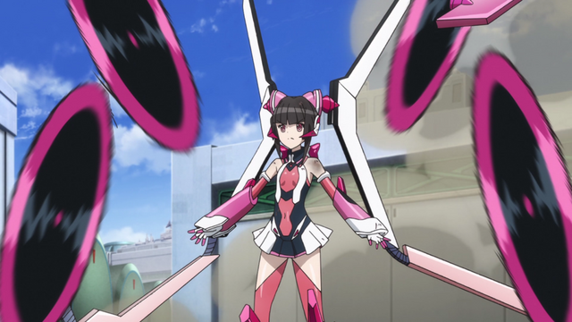 Shirabe from Symphogear, standing tall with four circular saws the size of her producing from attachments on her armor