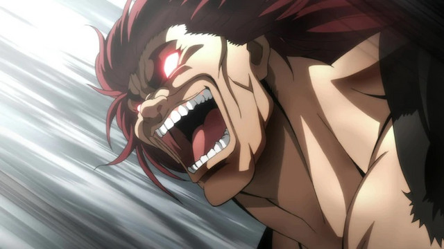 "Yujiro Hanma, aka ""the Ogre"" and ""The World's Strongest Creature"", goes wild in a scene from the latest Baki anime on Netflix."