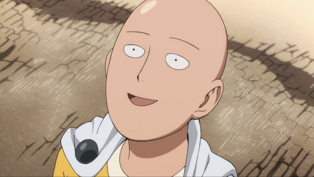 Presented with mortal danger in the form a colossal titan, Saitama looks on with a doofy expression on his face.