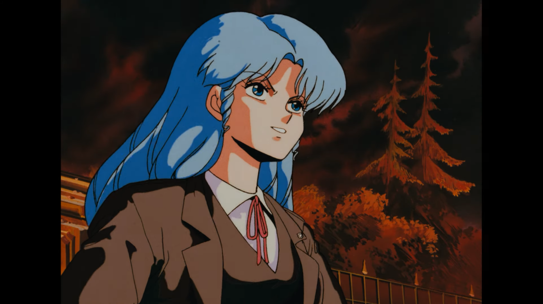 B-ko Daitokuji examines the destruction of her giant robots with a look of grim determination in a scene from the 1986 Project A-ko theatrical anime film.