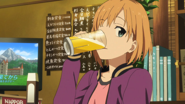 Miyamori drinking a beer in SHIROBAKO