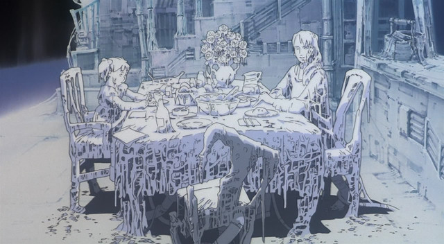 A screen capture from the Magnetic Rose segment of the 1995 Memories anthology film, featuring a haunting vista of an illusory family brought to life by a deranged AI.