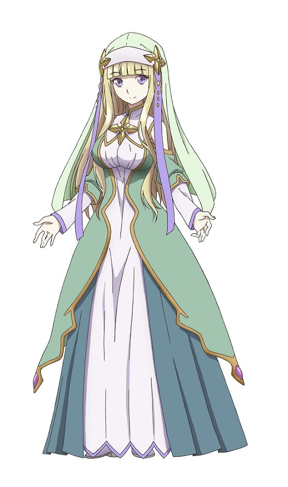 Elize, a main character in Hachinan-tte, Sore wa Nai Deshou!, is dressed in the long, flowing, green and gold robes of a cleric.